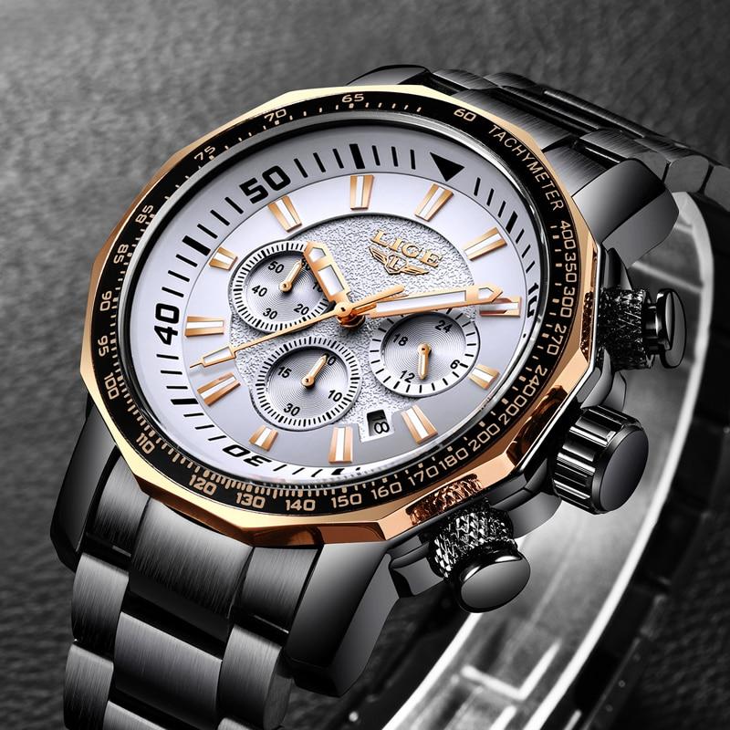 LIGE Brand Watches Mens Chronograph Full Steel Business Quartz Watch Fashion Sport Watch Men Waterproof Clock Relogio Masculino in Quartz Watches from Watches
