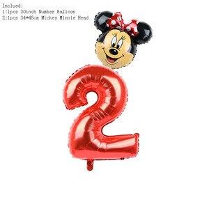 Image 5 - FUDANL 32Inch Màu Đỏ Đen Số Bóng Bay Mickey Minnie Đầu Bóng Hình 1 2 3 4 5 Năm Trẻ Em cậu Bé Gái Sinh Nhật Trang Trí
