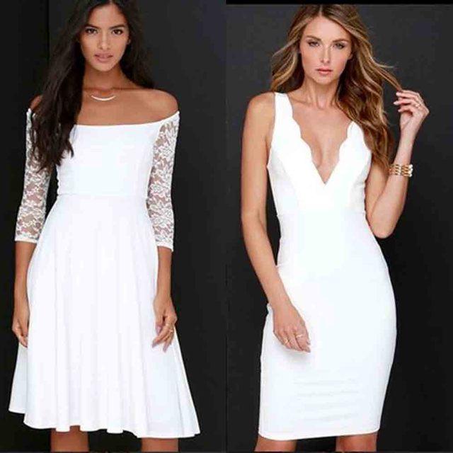 2016 summer dress sexy recortado cuello fuera del hombro v-cuello elegante party dress blanco ahueca hacia fuera bodycon dress