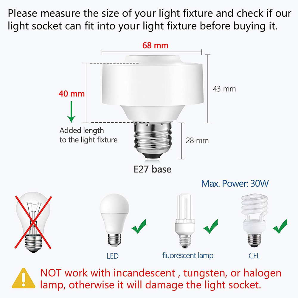 Image 5 - Tuya Smart Life WiFi Light Socket Lamp Holder for E26 E27 Led Bulb Google Home Amazon Echo Alexa Voice Control App Timer Light-in Electrical Sockets from Home Improvement