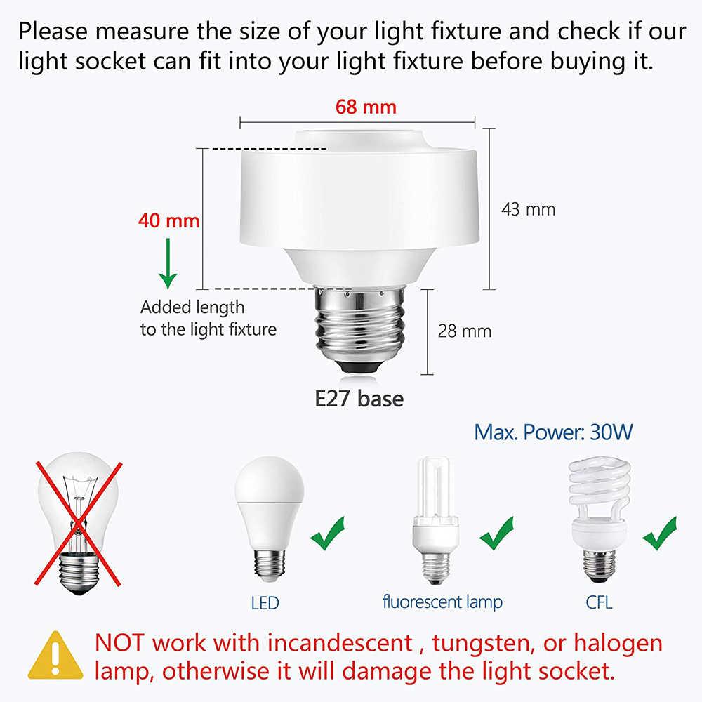 Tuya Smart Life WiFi Light Socket Lamp Holder for E26 E27 Led Bulb Google  Home Amazon Echo Alexa Voice Control App Timer Light