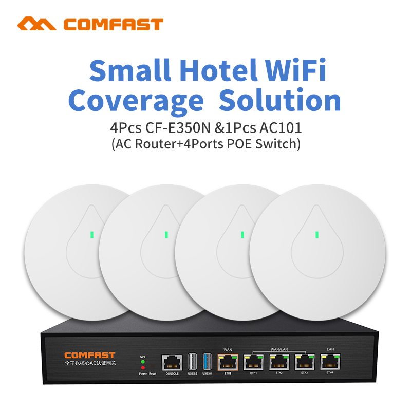 DHL Powerful 2.4Ghz Home /Small Shop Seamless Wifi Coverage 4pcs Stable ddwrt Ceiling AP 1pcs AC Management Poe Switch Router