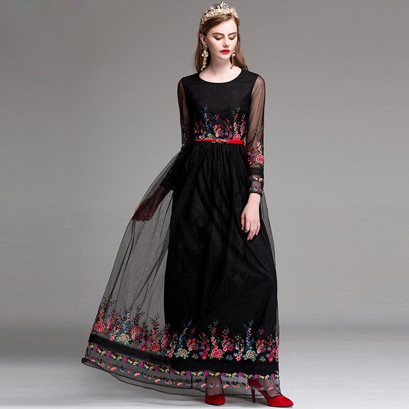 High Quality 2017 Autumn Runway Maxi Dress Women s Long Sleeve A Line amazing Flower Floral
