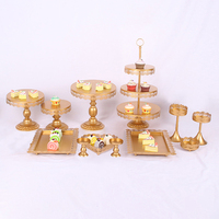 Mini Carriage Crystal Tier Wedding 3 Heart Shape Gold Cake Stand With Dome