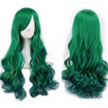 Green Women Fashion Lady Long Curly Wavy Hair Party Cosplay Full Wig  HB88
