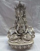 free 9 Tibet Silver Buddhism Dragon Head Portect Amitayus Buddha Bronze Tara Statue fast