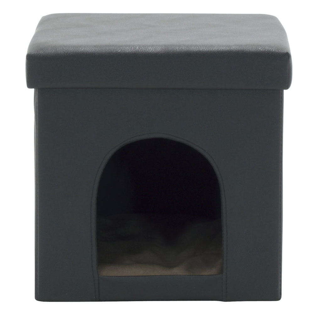 Offex Home Office Collapsible Pet Bed and Ottoman - Black offex home office plinth ottoman dark taupe