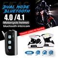 Nueva llegada dual bluetooth motocicleta intercomunicador del casco bt headset 1200 m 4 jinete moto comunicación interfono altavoz full duplex