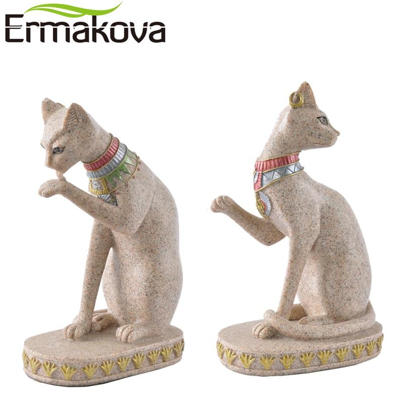 ERMAKOVA Sandstone Bastet Statue Egyptian Cat God Figurine Cat Ancient Egypt Natural Sandstone Craft Sculpture Home Desk Decor figurine