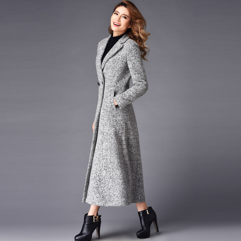 2016 Winter Fashion Plus Size Double Breasted Cashmere Overcoat Women Slim X Long Design Woolen Trench