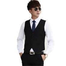 Настройка мужчин жилет формальный повод партия отдыха черный мода стиль однобортный мужчины бизнес жилет