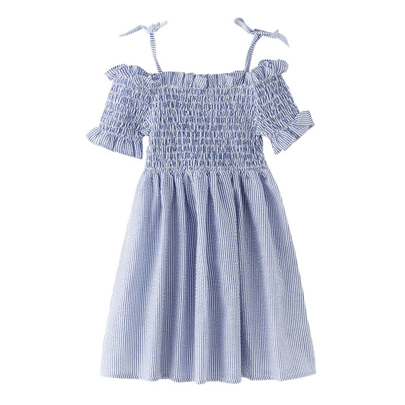 4 to 14 years new summer kids & teenager girls off-shoulder striped ruffle flare dress children fashion cotton casual dresses