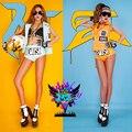 2016 Fashion women nightclub orange blue Korea 2ne1 vest jacket short set dance bottom female DJ DS stage costume clothing set