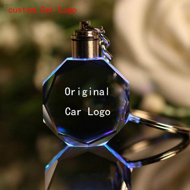 Luminous keychain Car Key Chain Ring Cut Glass Car Logo crystal Key Holder Ring Keyring