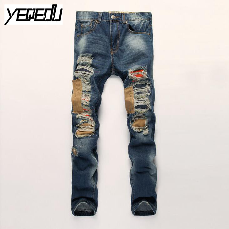 #3413 Mens jeans brand Biker denim Ripped jeans men High quality Distressed Slim Patch jeans hombre Men Skinny Hip hop jeans men 2017 fashion patch jeans men slim straight denim jeans ripped trousers new famous brand biker jeans logo mens zipper jeans 604