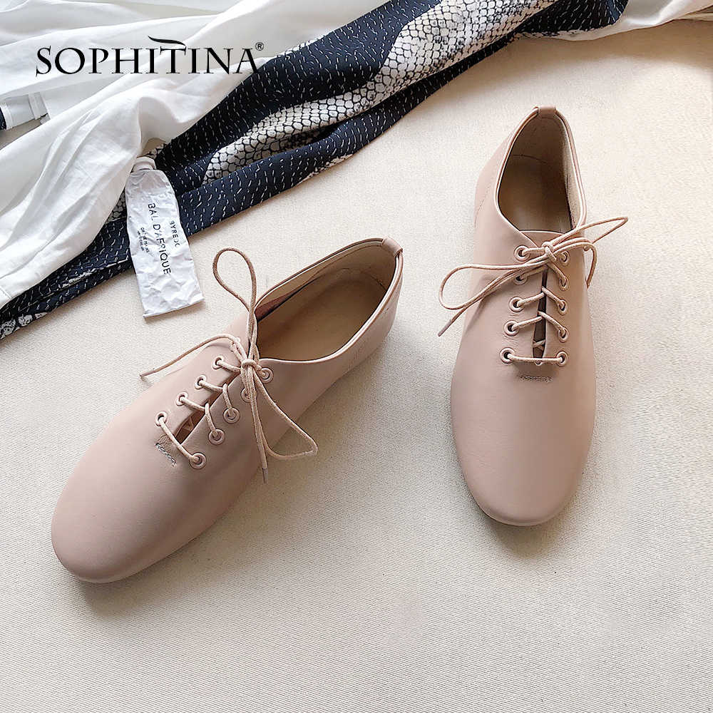 SOPHITINA Casual Lace-Up Woman Flats Spring Autumn Outside Round Toe Shoes Fashion Solid Narrow Band Low Heel Ladies Flats MO228