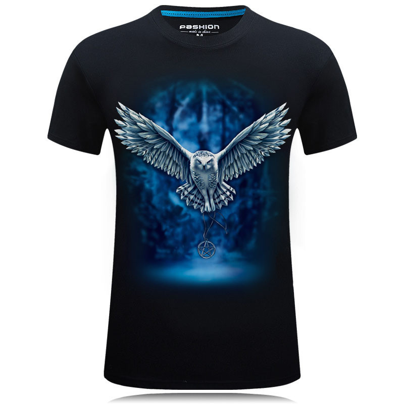 3D Owl Print T shirt Men/Women 2019 Hot Sale Animal Print Fly Owl Short Sleeve Summer Tops Tees Tshirt Male 5XL 1