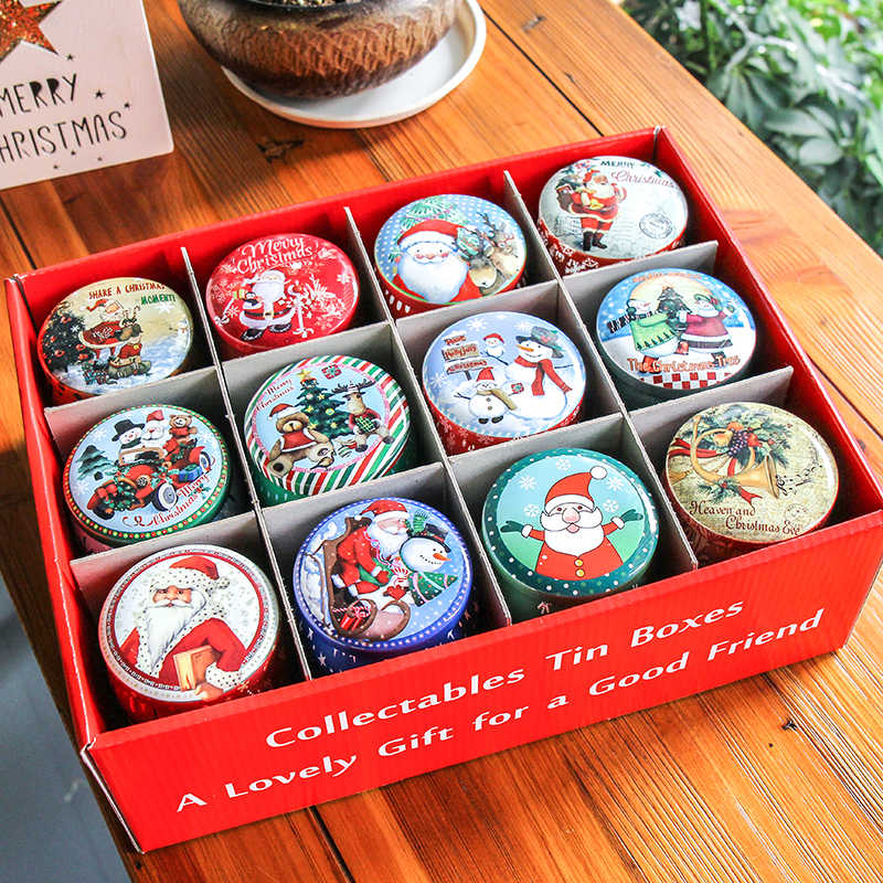 New Arrival! 2019 Christmas Style Round Tin Box Tin Gift Case Package Cookie Box Chocolate Case Candy Box in Display box