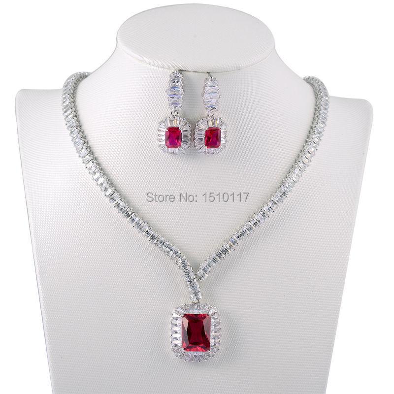 2e82cab537af Newshe rojo CZ rodio plateado collar Pendientes Juegos de joyería clásico  cadena para las mujeres envío libre