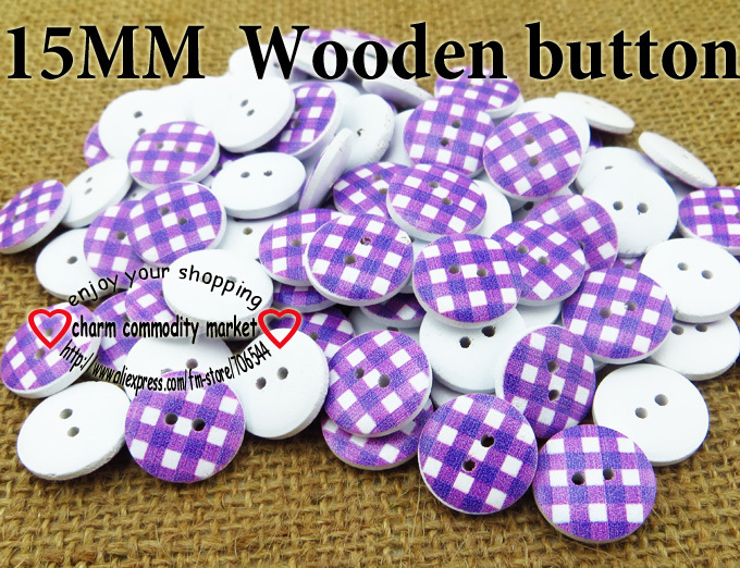 100PCS 15MM purple grid shape wooden painting buttons coat boots sewing clothes accessories MCB-694