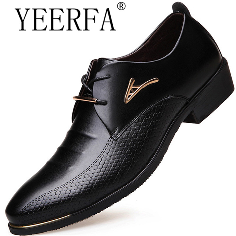 Men Dress Shoes Pointed Toe Lace Up Men'S Business Casual Shoes Brown Black Leather Oxford Shoes For Men Big Size 38-46 plus size 37 44 men leather dress shoes pointed toe business formal men office shoes lace up black brown oxford shoes yj b0018