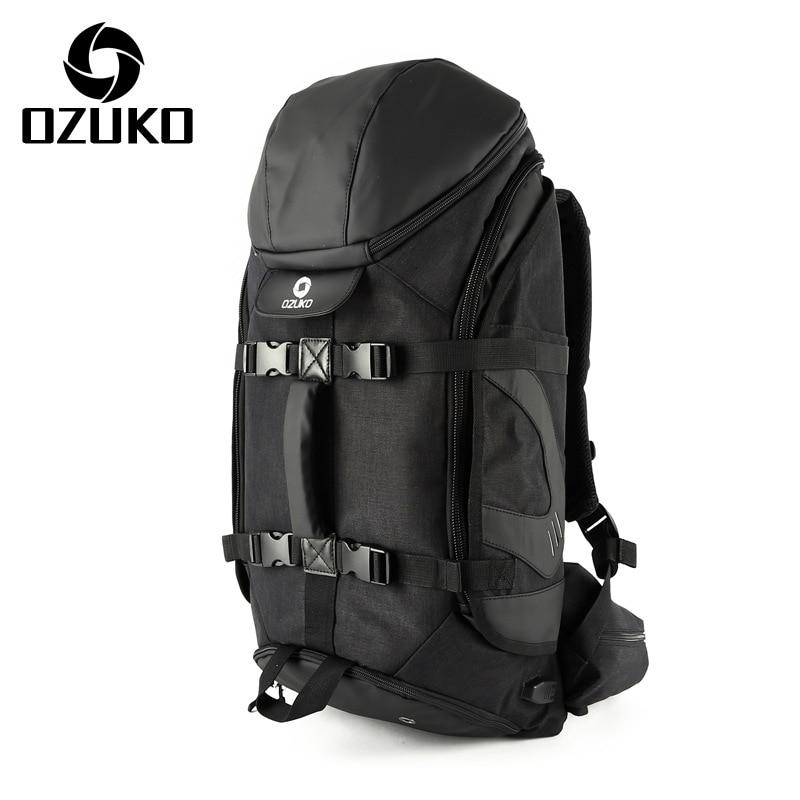 Mode hommes voyage sac à dos multifonction grande capacité étanche alpinisme sacs hommes USB charge bagages sacoche pour ordinateur portable-in Sacs à dos from Baggages et sacs    1