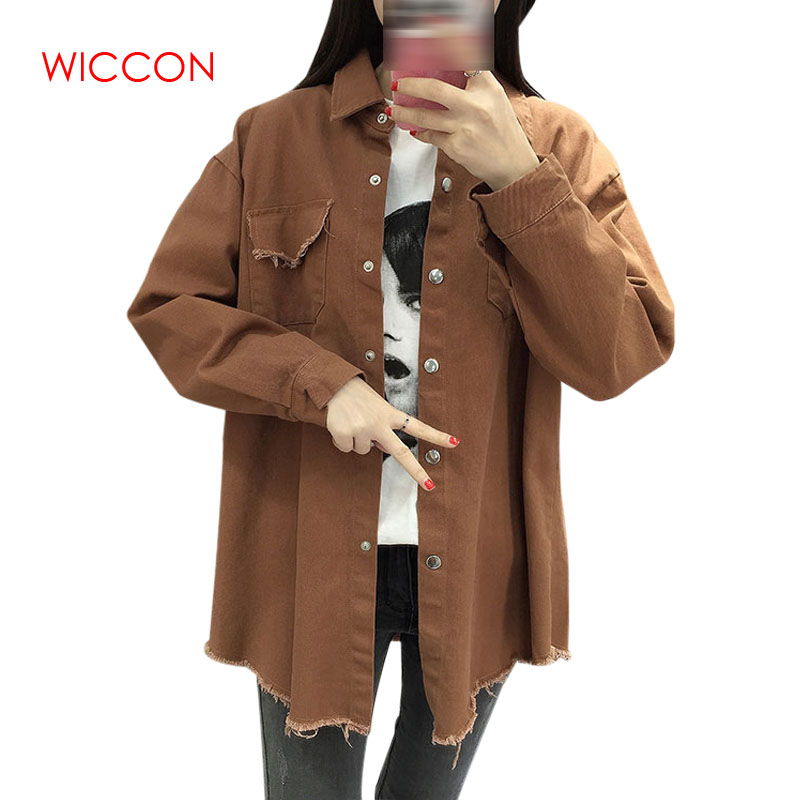 2019 Spring Autumn New Long Lapel Tassel Denim   Jackets   Women Loose Casual Long Sleeve Female'S Thin   Basic     Jacket   Coats