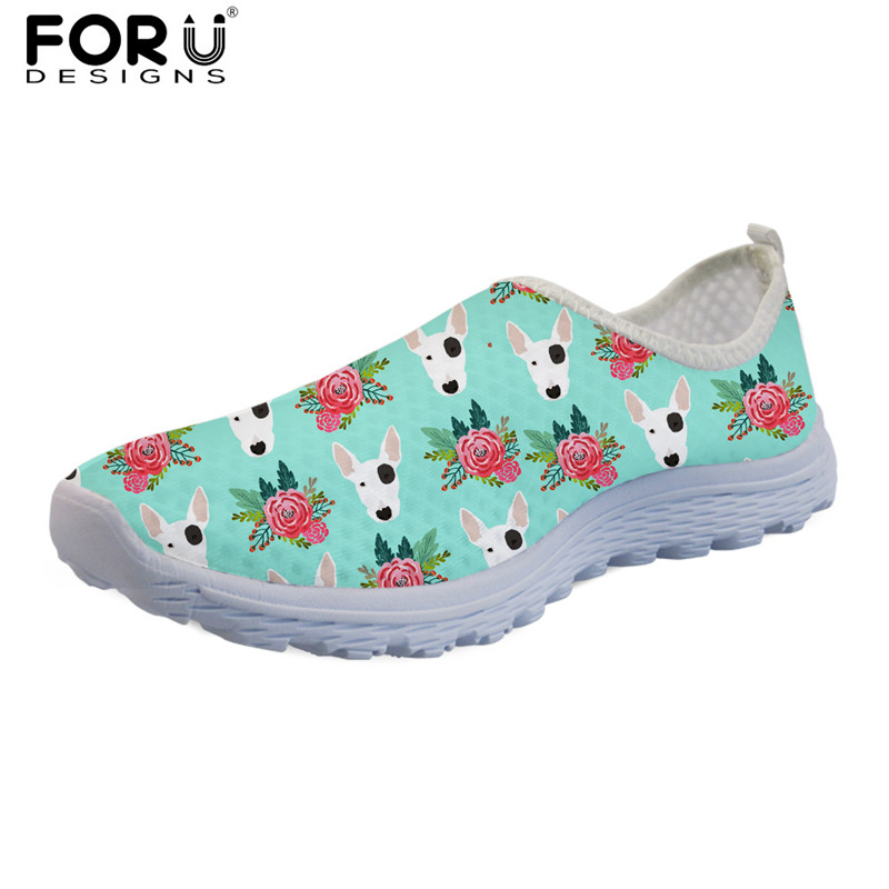 FORUDESIGNS Women Casual Mesh Shoes Animal Bull Terrier Print Spring Summer Lightweight Flats for Ladies Girls Slip-on Sneakers instantarts cute glasses cat kitty print women flats shoes fashion comfortable mesh shoes casual spring sneakers for teens girls