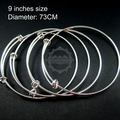 73mm diameter brass silver plated simple adjustable wiring bracelet for beading 1900049