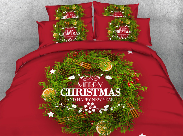 merry christmas bedding set duvet cover super king queen size twin full sheets bed in a - Christmas Sheets Twin
