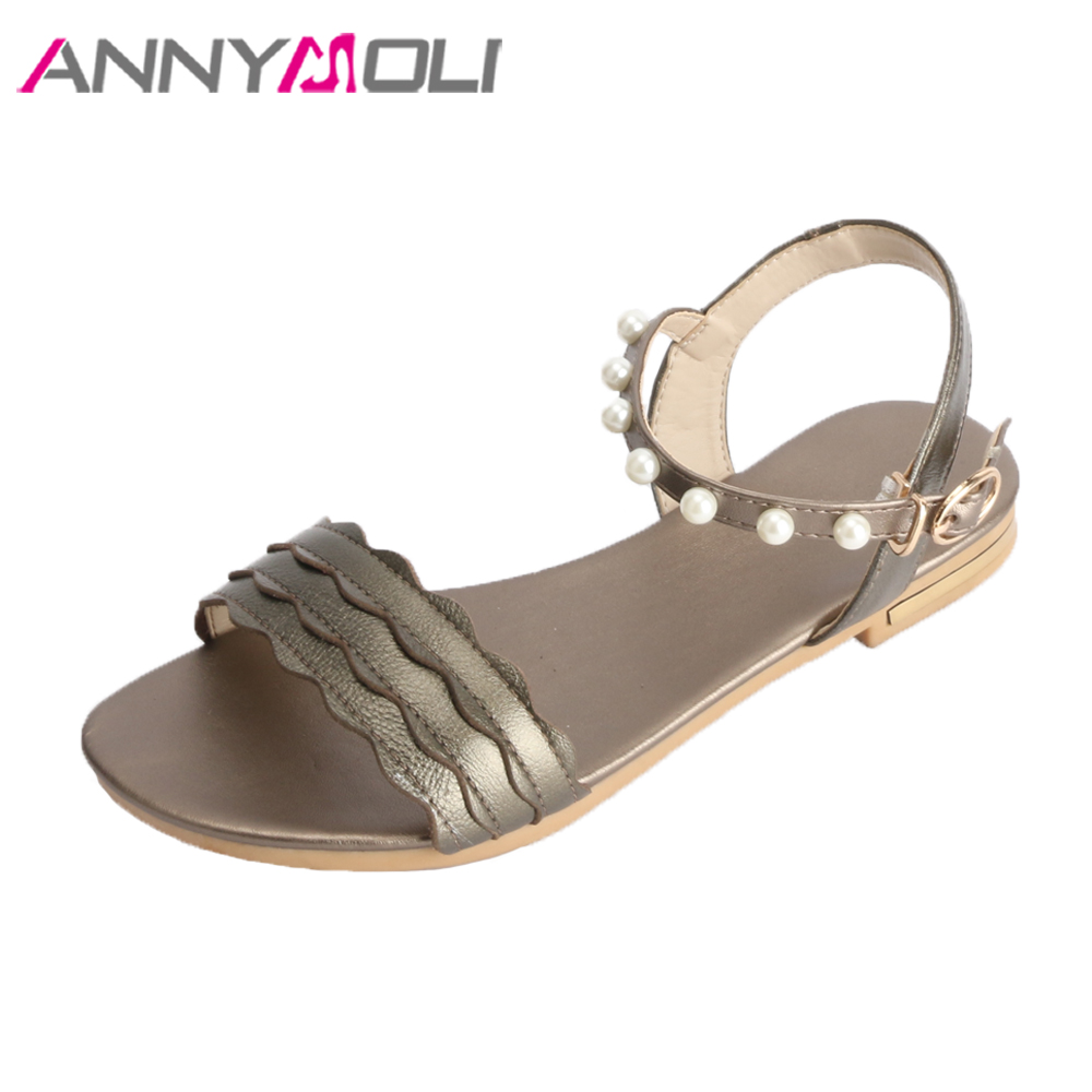 e59addb78a3894 ANNYMOLI 2018 Summer Sandals Genuine Leather Shoes Women Ankle Strap Shoes  Pearls Flats Sandals Big Size 46 Ladies Casual Shoes