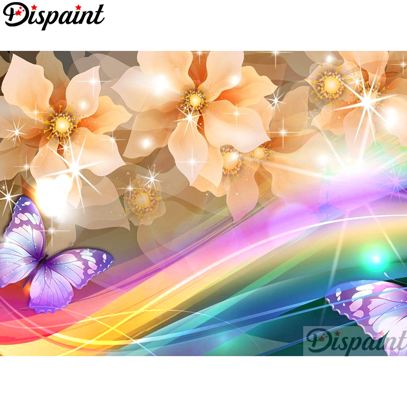 Dispaint Full Square Round Drill 5D DIY Diamond Painting quot Flower butterfly quot Embroidery Cross Stitch 3D Home Decor A10507 in Diamond Painting Cross Stitch from Home amp Garden