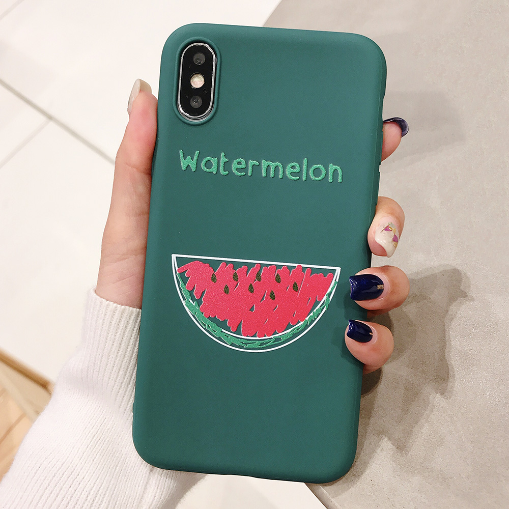 KIPX1090C_1_JONSNOW Phone Case for iPhone XR XS Max 6S 7 8 Plus Embossed Fruit Style Lemon Watermelon Strawberry Patterns Soft Silicone Cover