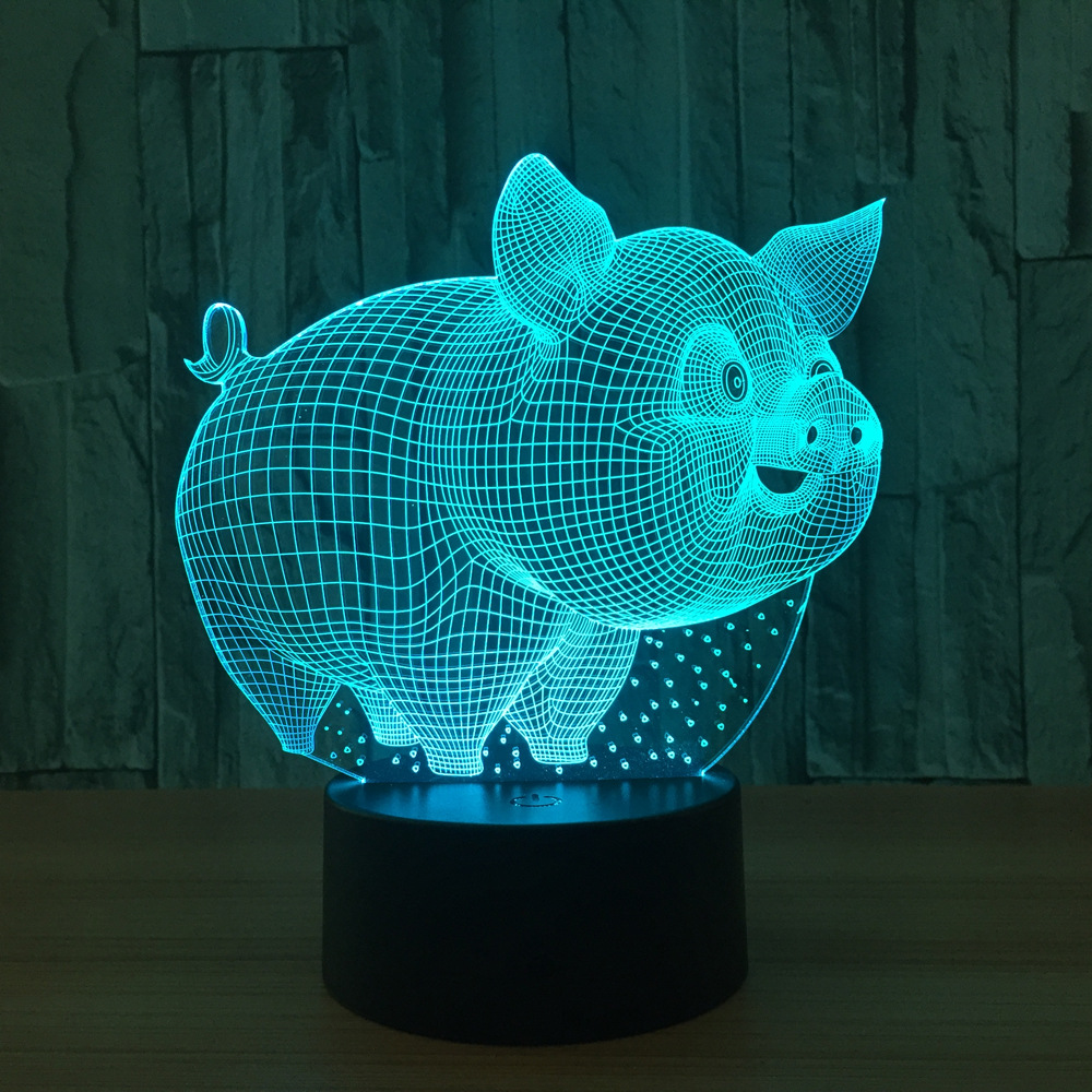 Lovely Pig Night Light 3D lamp Remote Touch Swithc 7 Colore change USB Table Desk Lamp Baby Sleeping nightlight For Kid Gift