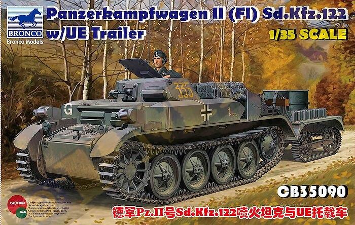 BRONCO CB35090 1/35 WWII German Panzerkampfwagen II Sd kfz 122 w/UE Traile