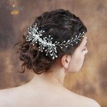 TOPQUEEN peineta para novia de diamantes de imitación cabeza adornos de boda Vintage peineta para novia regalo HP15