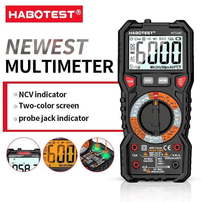 HABOTEST HT118A / C / DデジタルマルチメータオートレンジNCVトゥルーRMS AC / DC 6000カウント2色スクリーン電圧インジケータライトテスター|マルチメータ|ツール -