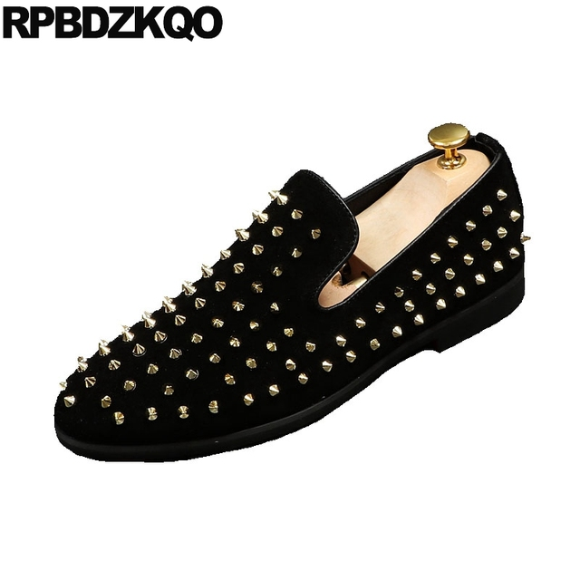 5a852a030c Prom Loafers New Rivet Brand Stud Italy Spike Designer Shoes Men Luxury 2018  Height Increase Metal Smoking Slippers Suede Famous