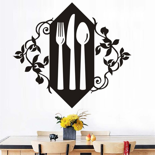 Flower Pattern Hollow Out A Set Of Fork Knife And Spoon Wall - Wall stickers for dining roomdining room wall decals wall decal knife spoon fork wall decal