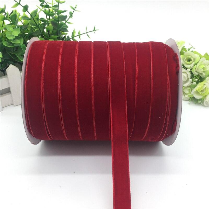 """5 ярдов 5/""""(15 мм) бархатная лента для украшения свадебной вечеринки лента ручной работы подарочная упаковка бантик для волос DIY Рождественская лента - Цвет: Red"""