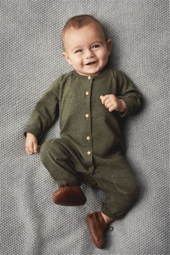 Green Newborn Kids Baby Boys Long Sleeve Button Romper
