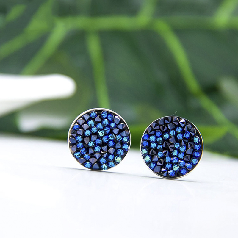 BAFFIN Round Stud Earrings Luxury Crystals From Swarovski Pave Silver Color Piercing For Women Chic Gift Blue Colorful Jewelry chic solid color round coin bracelet for women