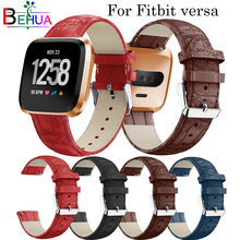 Leather Watch band wrist Watchband Strap for fitbit Versa Smart Watch Replacement leather accessories Hot sale goods Strap band hot sale fabulous replacement soft leather watch band strap tool for garmin vivoactive sporting goods accessories dec07