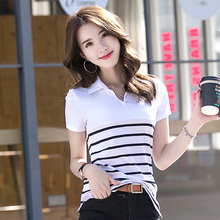 New Fashion Style Striped Woman Cotton Polo Shirts 2 Styles Black White