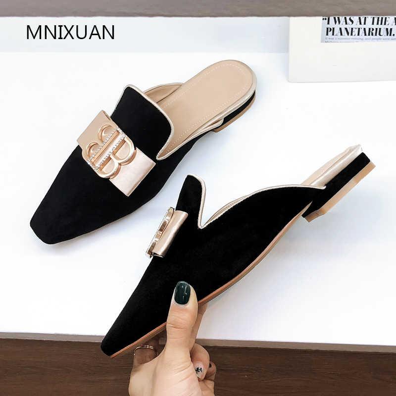 MNIXUAN Handmade Casual ผู้หญิงรองเท้าแบนรองเท้า Mules 2019 ฤดูร้อนใหม่โลหะ Fastener Lady รองเท้าแตะรองเท้าแตะผู้หญิงรองเท้าใหญ่ขนาด 41 42