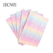 IBOWS 22*30CM Glitter Synthetic Leather Fabric Gradient Rainbow Chunky Glitter Fabric Wedding Decoration DIY Hairbows Materials(China)