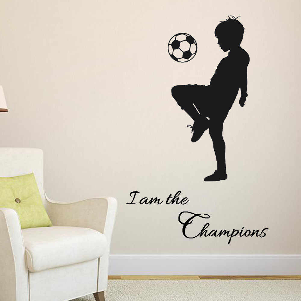 Wall Sticker Football I am The Champions  PVC Stickers For Kids Rooms Soccer Decal Removable  Self-adhesive Home Room Decor 417