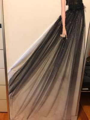 Azul oscuro negro gradiente Color estrella bronceado dorado Spray caliente lentejuelas transparente vestido de fondo de malla de encaje de tela