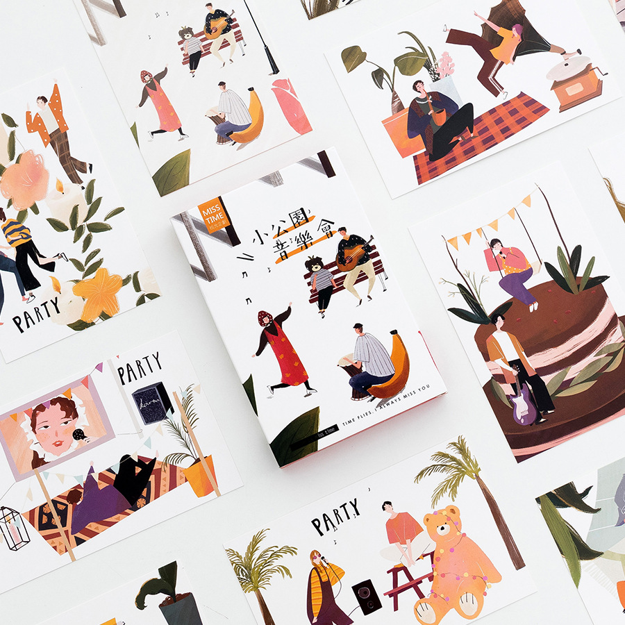 Fashion Style 30 Sheets/set Novelty Park Music Party Postcard /greeting Card/message Card/christmas And New Year Gifts To Clear Out Annoyance And Quench Thirst Office & School Supplies