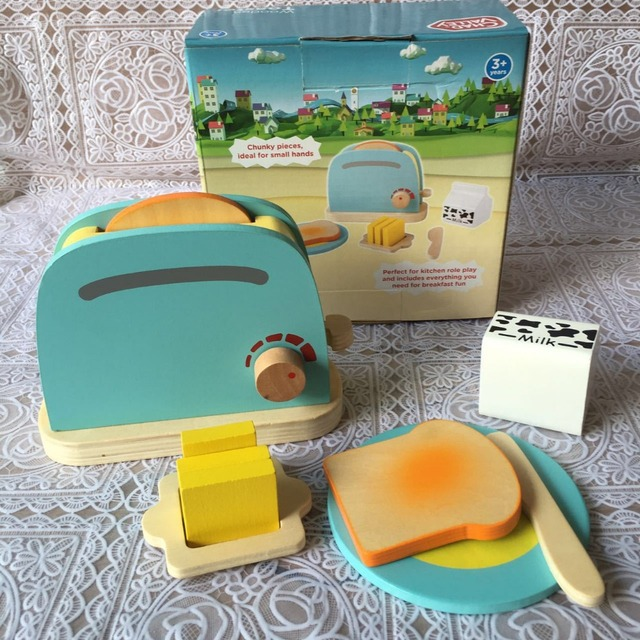 Wooden Toaster Toys Set Breakfast Cooking Toy 10pcs